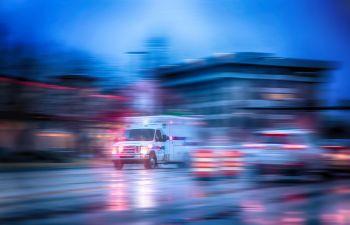 Racing Ambulance After a Car Crash,